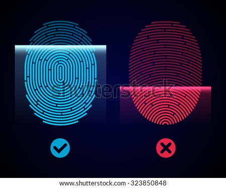 Electronic fingerprint scan. Passed and not passed authorization