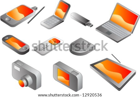 Electronic gadgets, vector clipart isometric style: pda phone, clamshell cellphone, usb pendrive, notebook, portable game player, mp3 player, cd player, digital camera, tablet pc - stock vector