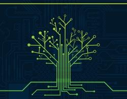 Electronic Green Nerve Neuron Tree Circuit Board Design vector, Electric Tree Circuit Board Wallpaper