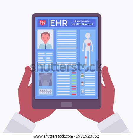 Electronic health record, EHR digital patient chart, tablet in hands. Screen with medical history, diagnoses, treatment plans, images, laboratory test results. Vector flat style cartoon illustration