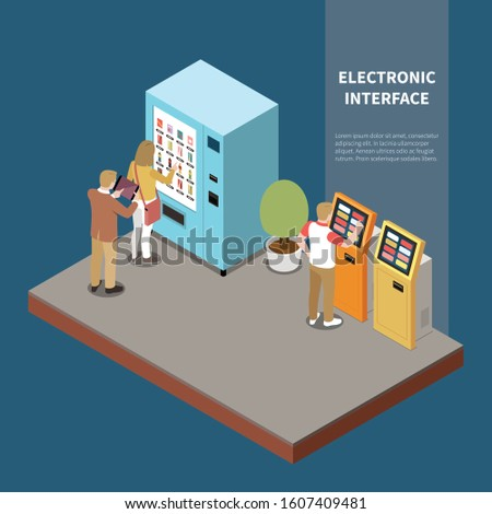 Electronic interfaces isometric composition with people using touch screen of vending machine and payment terminal vector illustration