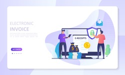 Electronic Invoice concept, digital bill for online transactions system, Suitable for web landing page, ui, mobile app, banner template. Vector Illustration.