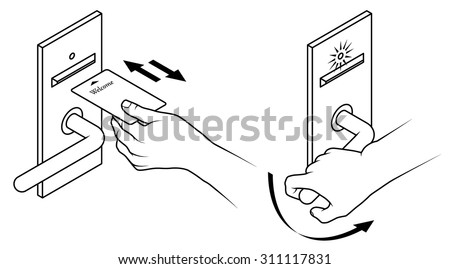 Royalty free stock photos and images electronic keycard door electronic keycard door opening instructions diagram insert and remove card front slot two step ccuart Image collections