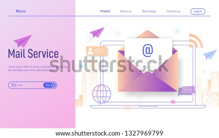 Electronic mail or Email services modern flat design concept, online subscribe and received newsletter through smartphone and laptop vector