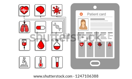 Electronic medical records and software, concept of health care,health care services, annual check up, Clipboard with patient, medical card online Pharmacy Settlement flat icon, vector illustration