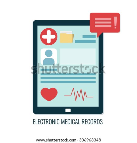 Electronic medical records on tablet computer. Online medical card. Vector icon in flat design.