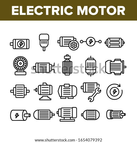 Electronic Motor Tool Collection Icons Set Vector. Electronic Motor Equipment Repair With Wrench, Lightning Mark On Engine Concept Linear Pictograms. Monochrome Contour Illustrations