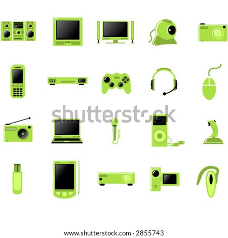 Electronic Multimedia stuff icon set