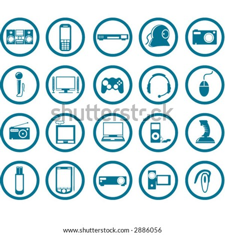 Electronic Multimedia stuff icon set