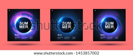 Electronic music abstract background blue. CD cover design showing sound waves. Music background. Circle frame for text.