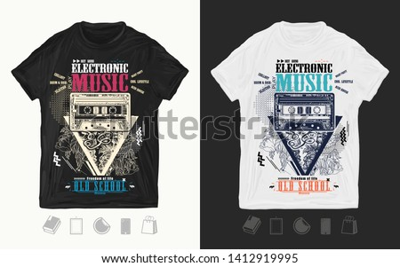Electronic music art. Audio type and flowers. Modern musical print for t-shirts and another, trendy apparel design. Old school slogan