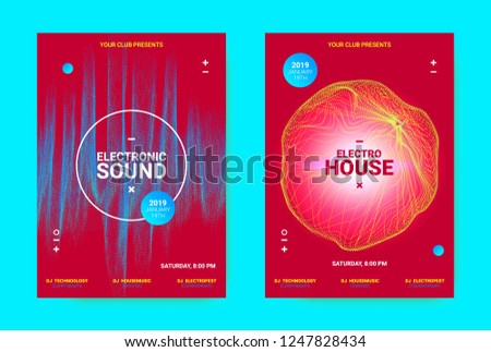 Electronic Music Banner. Techno Sound Flyer Design. Vector Equalizer Concept with Amplitude of Distorted Lines. Wave Banner for Dance Event Promotion. Abstract Vibrant Poster. Minimal Dj Party Banner.