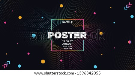 Electronic Music Covers for Summer Night Party or Club Party Flyer. Colorful Waves Gradient Background. Template for DJ Poster, Web Banner, Pop-Up.