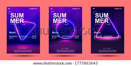 Electronic Music Covers for Summer Night Party or Club Party Flyer. 3d Retro Light Signboard With Shining Neon Effect. Colorful Vector Illustration in 80s Style