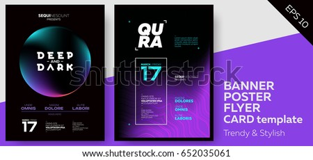 Electronic Music Dark Covers for Summer Fest or Club Party Flyer. Colorful Waves Gradient Background. Template for DJ Poster, Web Banner, Pop-Up.
