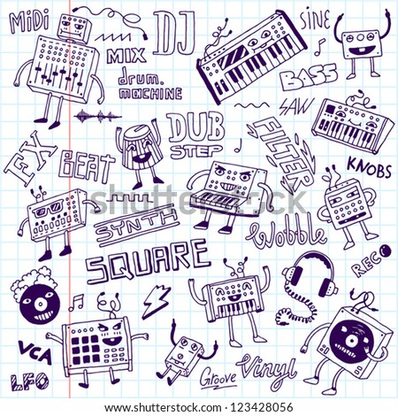 Electronic music. Doodle set. School notebook.