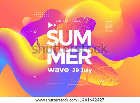 Electronic music fest summer wave poster with fluid shapes and gradient palm leaf. Club party flyer. Abstract gradients waves music background.