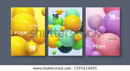 Electronic music festival ads poster. Modern club foam party invitation. Vector illustration with 3d abstract spheres. Dynamic colorful bouncing balls. Dance music event cover. Brochure template