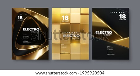 Electronic music festival ads poster set. Modern club electro party invitation. Vector illustration. 3d black and golden shapes. Dance music event cover. Brochure or flyer template