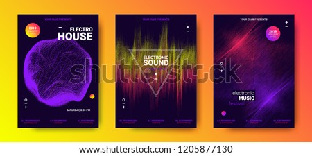 Electronic Music Festival Design Flyer. Abstract Wave Posters Set for Dance Event. Amplitude of Distorted Dotted Color Lines. Vector Equalizer. Effect Movement of Dots. Futuristic Sound Flyer Concept.