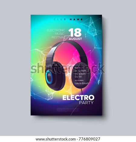 Electronic music festival poster. Electro dj party. Realistic headphones with plexus particles on fluid color background. Vector illustration. Liquid gradient cover. Club invitation. Modern design.