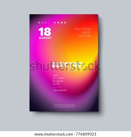 Electronic music festival poster mockup. Electro party flyer. Fluid color cover. Vector illustration of abstract gradient liquid bubble shape. Club invitation template. Modern design