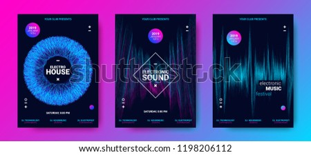 Electronic Music Festival Poster with Equalizer. Sound Flyer Concept with Distorted Circle, Amplitude and Dotted Lines. Abstract Vector Template for Banner, Brochure. Wave Poster Design for Event.