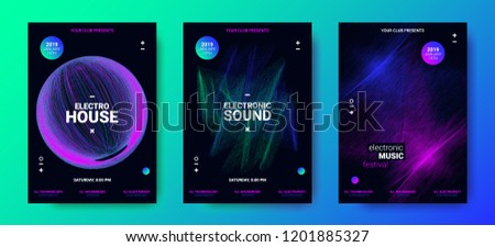 Electronic Music Movement Concept. Sound Amplitude of Distorted Dotted Color Lines. Vector Equalizer Design. Wave Poster for Dance Night Party. 3d Graphic Round with Glow and Movement of Dots Effect.