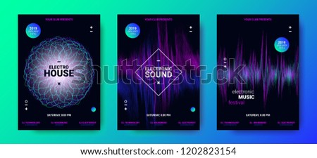Electronic Music Movement Concept. Sound Amplitude of Distorted Dotted Color Lines. Vector Equalizer Design. Wave Poster for Dance Night Party. 3d Graphic Round with Glow and Movement of Dots Effect. #1202823154