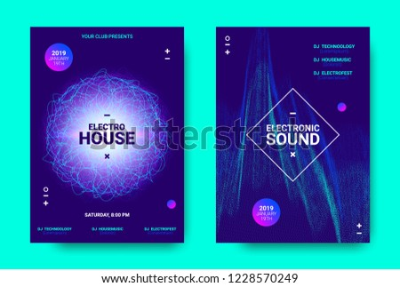 Electronic Music Movement Concept. Wave Poster for Dance Night Party. Sound Amplitude of Distorted Wave Lines. Vector Equalizer Movement Design. 3d Graphic Round with Glow and Movement of Dots Effect. #1228570249