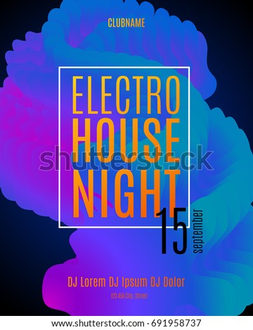 Electronic music party poster. Electro house club fest flyer. Electro sound waves with neon gradient. Vector abstract music background.