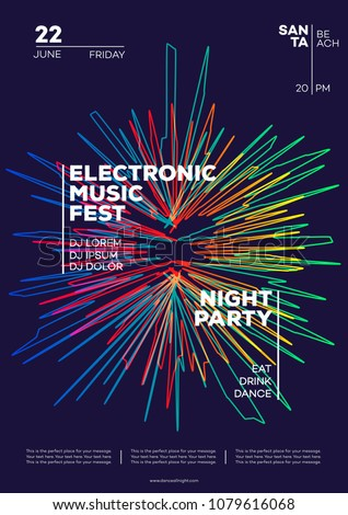 Electronic music party poster. Trendy club party flyer modern gradients minimalist style. Dance festival. Vector Illustration 10 eps