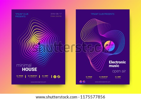 Electronic Music Party Poster with Colorful Equalizer. Vector Background for Night Sound Event. Gradient Distorted Equalizer Design. Abstract Wave Lines and Circles. Modern Music Glowing Equalizer.