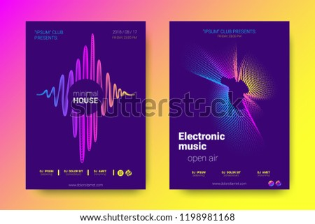 Electronic Music Party Poster with Colorful Equalizer. Vector Background for Night Sound Event. Gradient Distorted Amplitude Design. Abstract Wave Lines and Circles. Modern Music Glowing Equalizer.