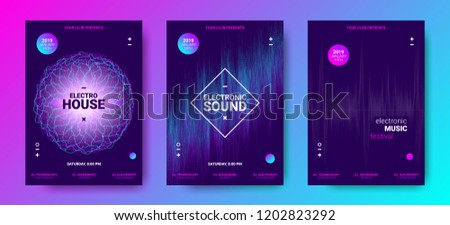 Electronic Music Poster Concept. Amplitude of Distorted Dotted Color Lines. Abstract Covers for Dance Event. Vector Equalizer. Wave Round with Glow Effect. Futuristic Electronic Sound Movement Design. #1202823292