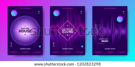 Electronic Music Poster Concept. Amplitude of Distorted Dotted Color Lines. Abstract Covers for Dance Event. Vector Equalizer. Wave Round with Glow Effect. Futuristic Electronic Sound Movement Design.