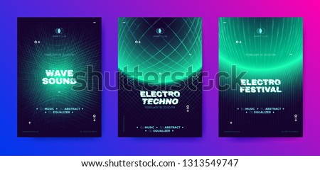 Electronic Music Poster, 3d Neon Round, Distorted Wave Lines. Dj Party Flyer Design with Movement and Illusion Effect. Electronic Sound Festival Promotion. Technology Futuristic Banner, Electro Event.