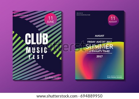 Electronic music poster. Modern club party flyer. Abstract gradients music background. Summer fest cover