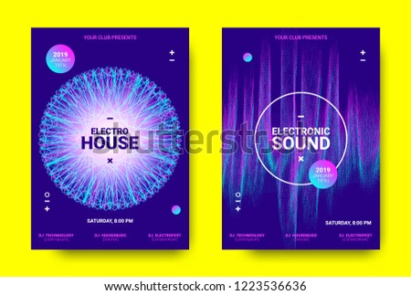 Electronic Music Poster. Sound Equalizer Vector Design. Amplitude of Wave Lines. Futuristic Flyer for Electronic Music Event with Glow Effect. Sound Movement Concept. Electronic Festival Promotion.