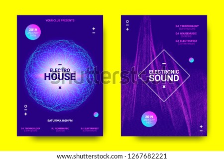 Electronic Music Poster. Sound Equalizer Vector Design. Amplitude of Wave Lines. Futuristic Flyer for Electronic Music Event with Glow Effect. Sound Movement Concept. Electronic Festival Promotion. #1267682221