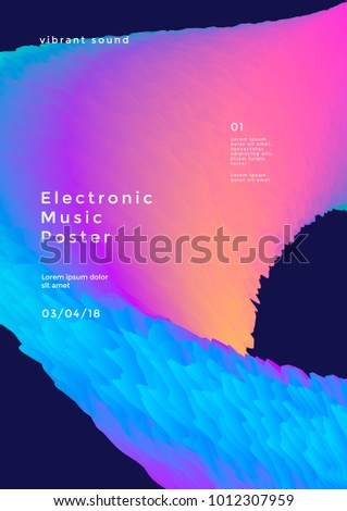 Stock Photo Electronic music poster with gradient wave. Modern club party flyer. Abstract vibrant sound background.