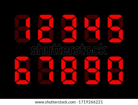 Electronic numbers. Digital Watch. Electronic dial. Digital alarm clock. Vector digital numbers. Electronic font. Countdown. Timer. Watch icon. Vector illustration. Led watch.