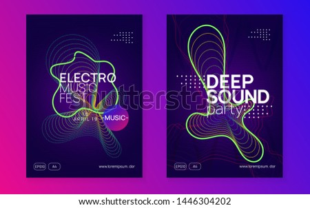 Electronic party. Dynamic gradient shape and line. Wavy concert invitation set. Neon electronic party flyer. Electro dance music. Techno fest event. Trance sound. Club dj poster.