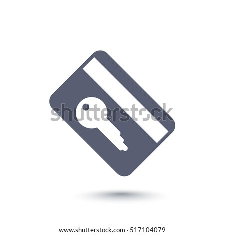 electronic pass icon, plastic card key on white
