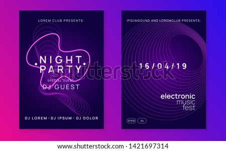 Electronic poster. Bright concert magazine set. Dynamic fluid shape and line. Neon electronic poster. Electro dance dj. Music sound fest. Night club event flyer. Techno party.