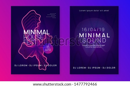 Electronic poster. Dynamic fluid shape and line. Commercial show magazine set. Neon electronic poster. Electro dance dj. Music sound fest. Night club event flyer. Techno party.
