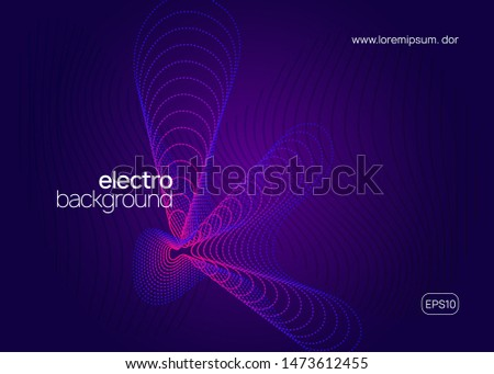 Electronic poster. Dynamic fluid shape and line. Geometric discotheque brochure concept. Neon electronic poster. Electro dance dj. Music sound fest. Night club event flyer. Techno party.