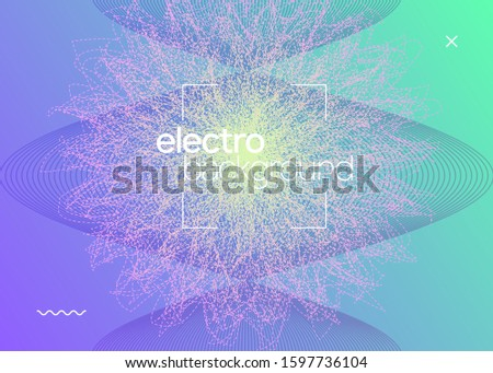 Electronic poster. Dynamic fluid shape and line. Modern discotheque brochure layout. Neon electronic poster. Electro dance dj. Music sound fest. Night club event flyer. Techno party.