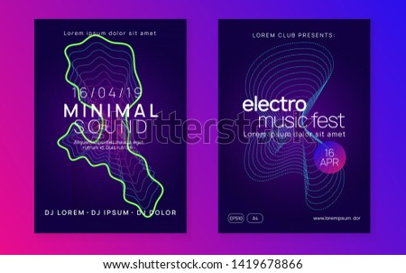 Electronic poster. Futuristic show magazine set. Dynamic fluid shape and line. Neon electronic poster. Electro dance dj. Music sound fest. Night club event flyer. Techno party.