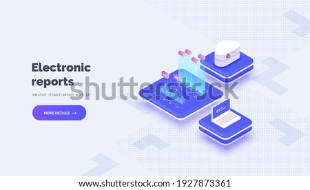 Electronic reporting. Vector conceptual illustration with cloud server laptop interaction and e-reporting system. Electronic statistics and analytics. Isometric style